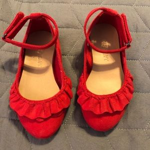 New Mary Jane red shoes for toddlers.
